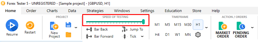 How to adjust the testing speed easily