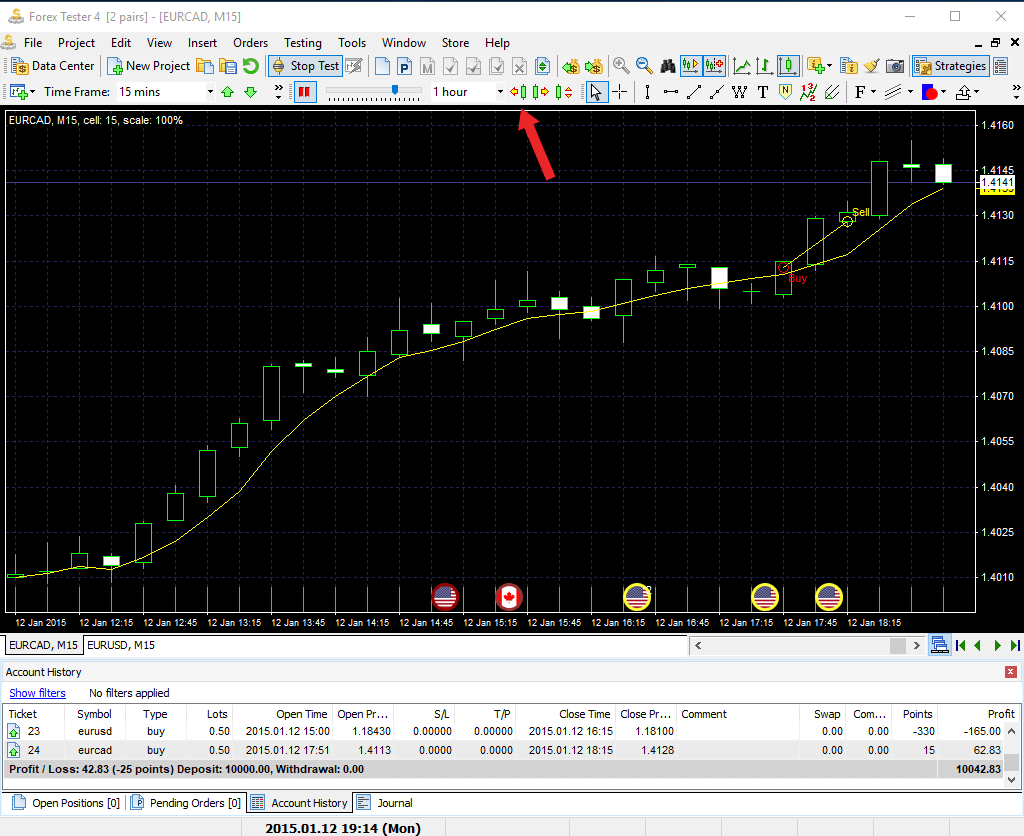 How to replay history in Forex Tester trading simulator